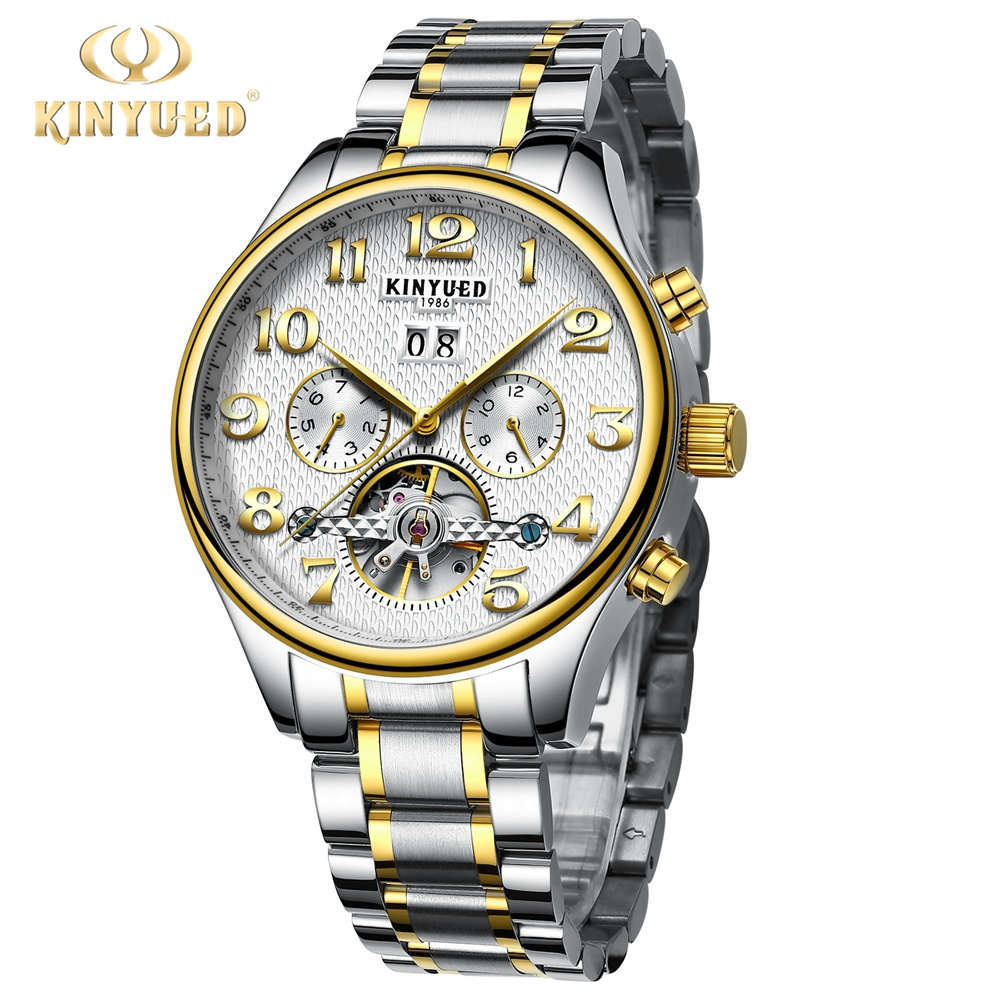 Kinyued Skeleton Tourbillon Mechanical Watch Automatic Men Classic Gold Stainless Steel Mechanical Wrist Watches Reloj Hombre lige skeleton tourbillon mechanical watch men automatic classic mechanical stainless steel wrist watches reloj hombre 2017