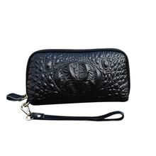 Crocodile pattern Cosmetic bag Women Genuine Leather Makeup