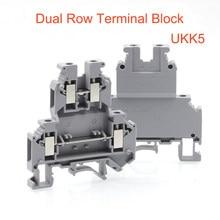2/5pcs Din rail dual row screw terminal blocks UKK5 wire electrical double deck terminals block connectors cable morsettiera 32A