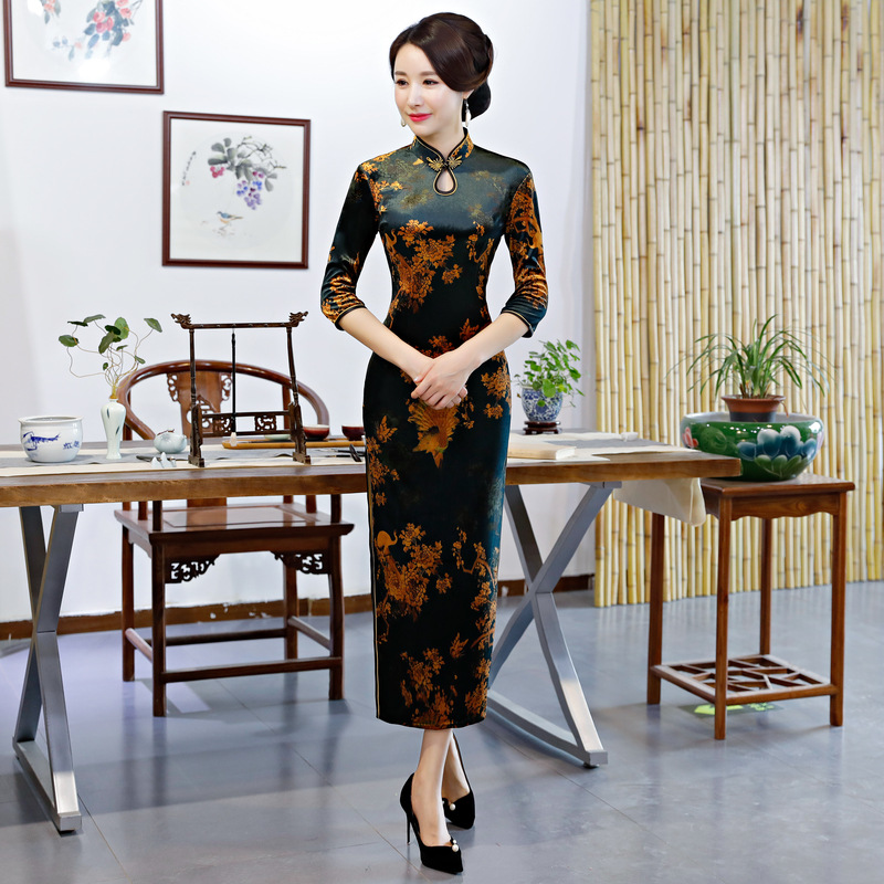 Autumn Winter Female Cheongsam Elegant Chinese Style Evening Dress Vintage Long Slim Lady Stage Show Qipao Big Size 3XL 4XL