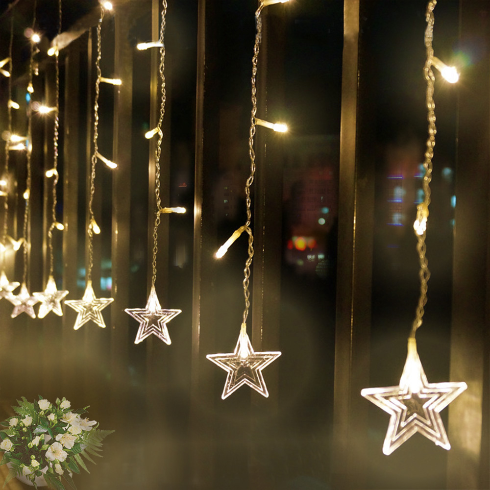 AC 220V 3.5M 96 LED Curtain String Light Star Fairy Light For New Year Party Wedding Holiday Christmas Decoration Light