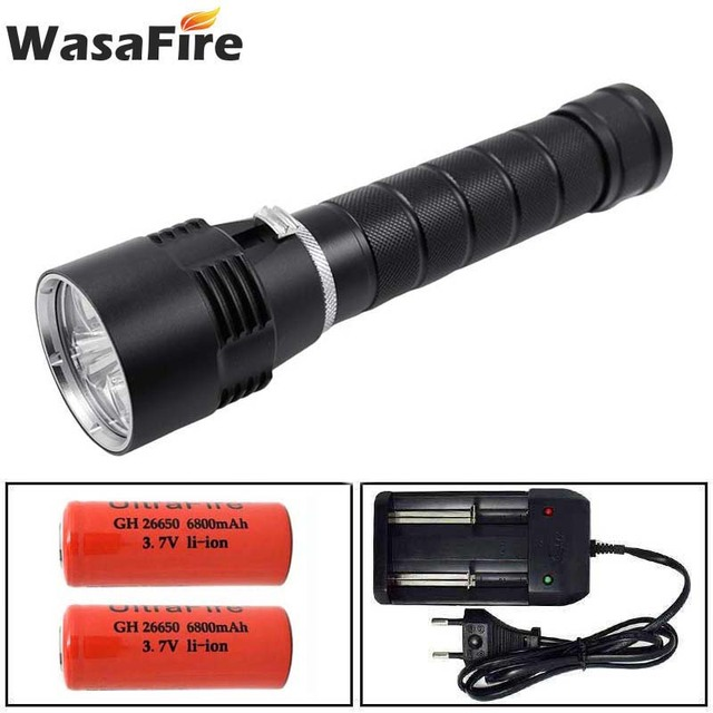 Wasafire 10000 Lumens Diving Torch Professional Powerful led Waterproof Scuba Dive Flashlight Diver Light LED Underwater Lantern