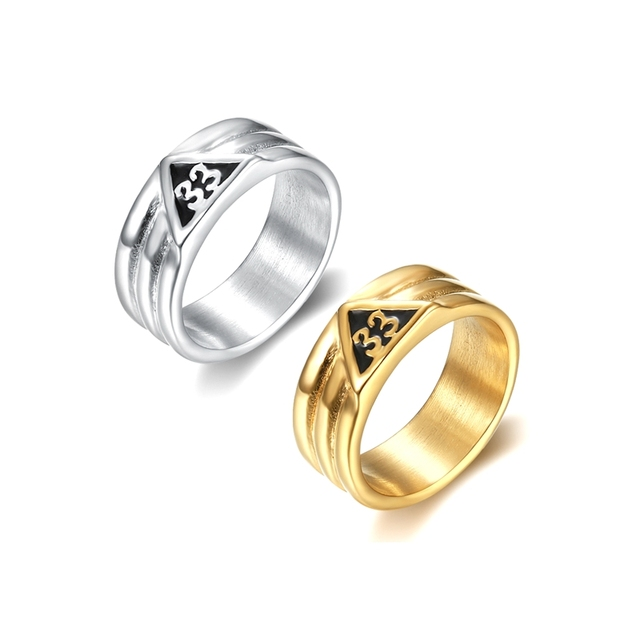 a2f7292802ef6 US $3.5 |Size 7 13 316L stainless steel silver gold masonic signet rings  for men women round circle 33 letter freemason rings -in Rings from Jewelry  & ...