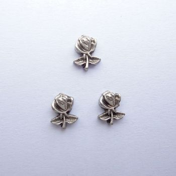 silver rose charms, floating charms for memory locket or living locket , 20 pcs / lot  , Free Shipping
