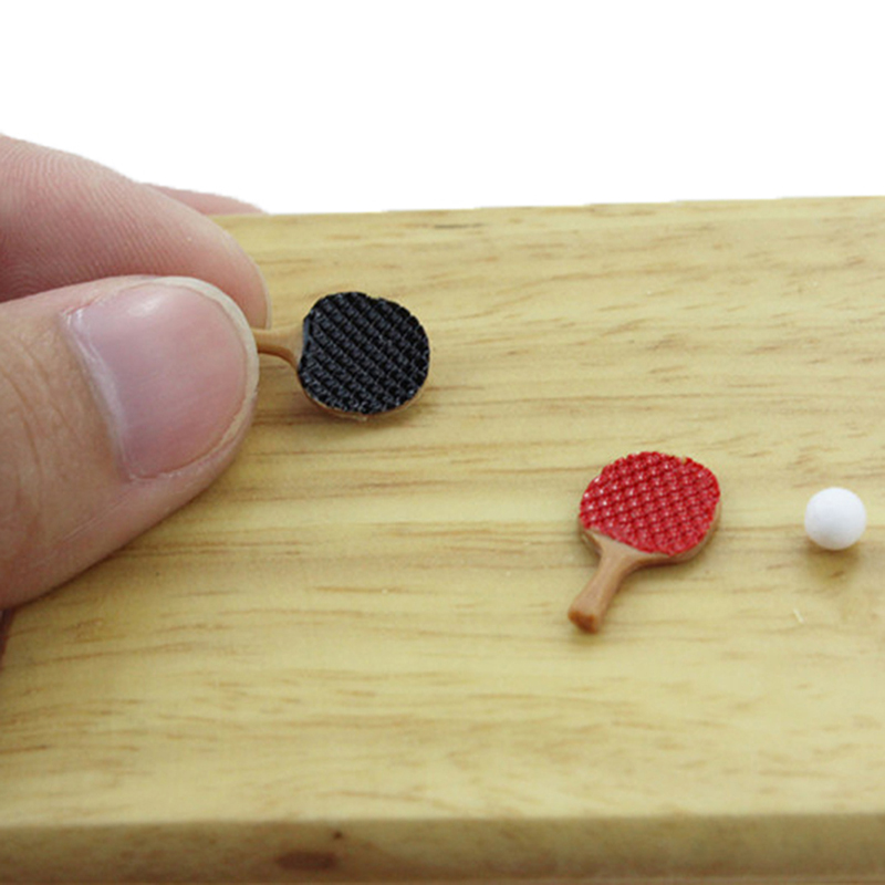 1/12 Ping-pong Toys Dollhouse Miniature Accessories Mini Table Tennis Racket With Ball Simulation Furniture For Doll House Decor