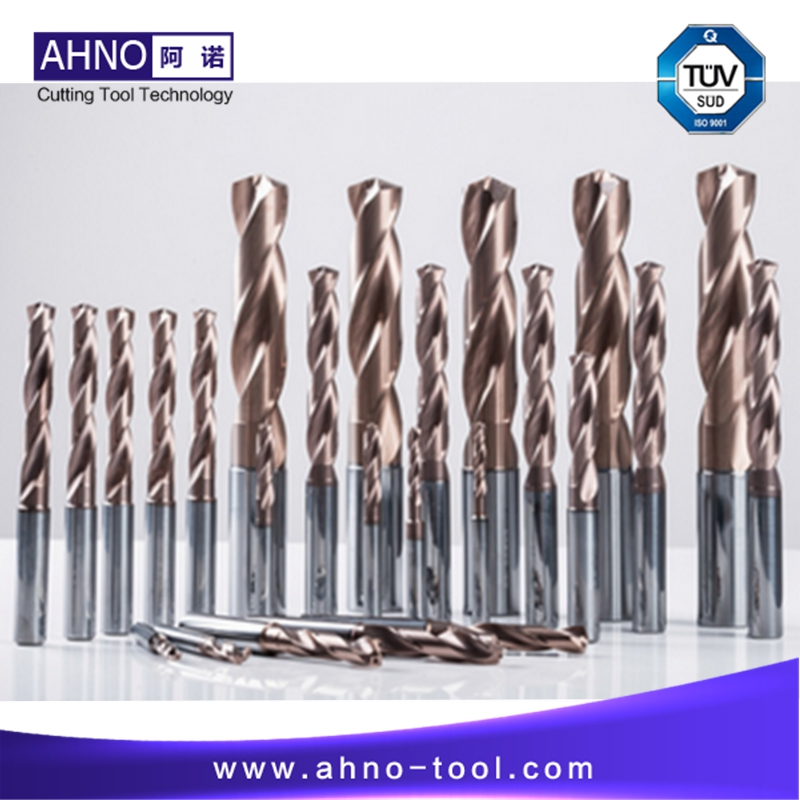 AHNO Tungsten Solide Carbide Drill Bit 5xD for CNC Machine, AlCr-based copper Balzers Coating,Highest quality Carbide in China hrc50 ahno 4 flutes or 2 flutes tungsten carbide cnc end mills milling cutters tools updated alcr based copper coating 2018