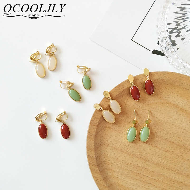 Korea Japan Natrual Forest Crystal Stone Clips on Earring Without Piercing Vintage Palace No Ear Hole Clip Earrings for Women