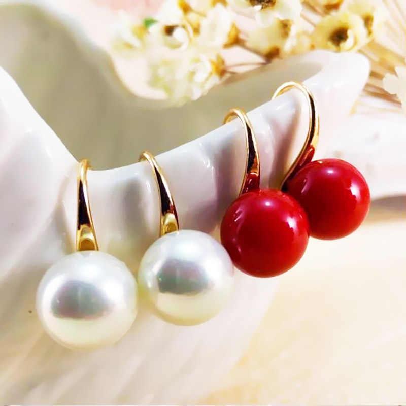 Fashion 2 Pcs/Pasang Anggun Red Pearl Bebas Alergi Paduan Sederhana Perak Emas Anting-Anting Anting-Anting Fashion Perhiasan Anggun Wanita Gadis