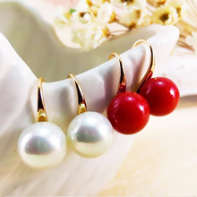 купить Fashion 2PCS/Pair Graceful Red Pearl Allergy Free Alloy Simple Silvery Golden Stud Earrings Fashion Jewelry Graceful Women Girls по цене 24.1 рублей