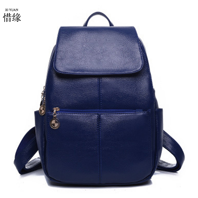 women backpacks female package Korean casual leather blue shoulder bag Simple travel female red backpack backbags for students