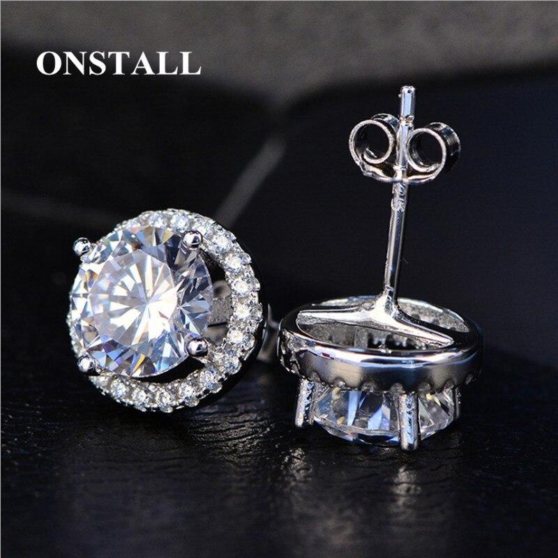 ONSTALL Round Stud Earrings Women Men Cubic Zirconia 925 Silver Stud Earrings Male Fashion Simple Girl Je E20180308