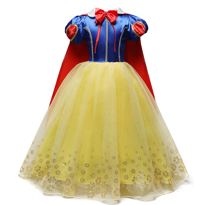 Princess Fancy Dress up for Girl Kids Girl Snow White Role-play Costume Children Halloween Carnival Snow Print Long Gown Age 8Y halloween rhinestone green eye black cat white top girl purple black skirt 1 8y mamg1178
