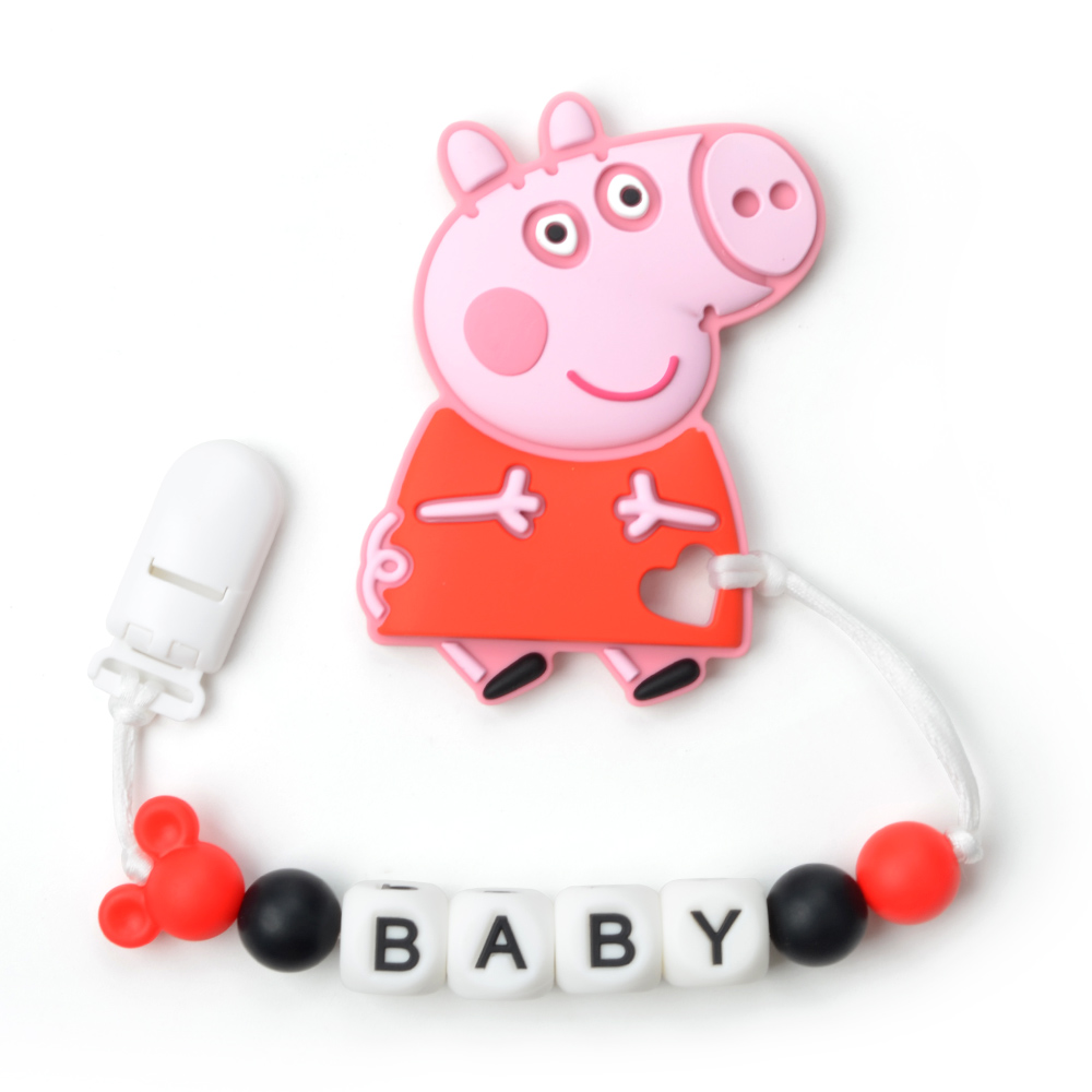 Baby Teething Toy Peppa Pendant Pacifier Clip Personalized Name