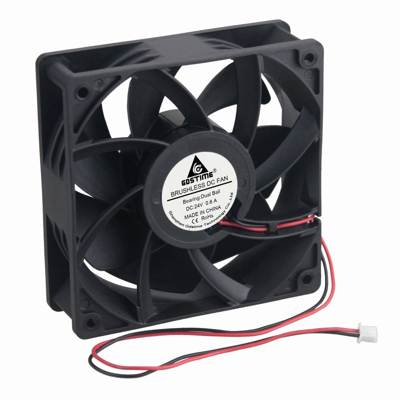 24V Ball Bearing 120mm 120x120X38mm Computer Cooling Fan Big Airflow 245CFM 2pin