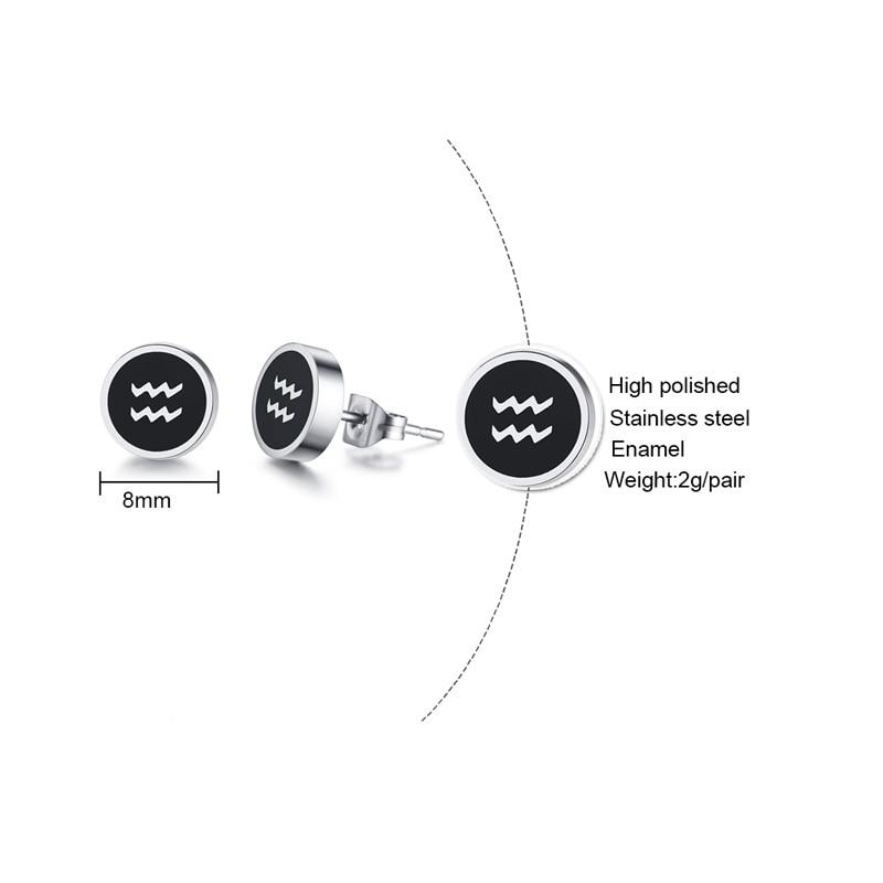 Zodiac Constellation Symbols Stud Earrings for Men