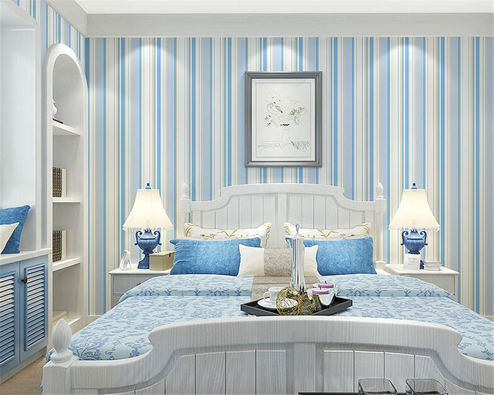 Beibehang Mediterranean style wallpaper sitting room TV setting wall paper stripe blue 3d wallpaper roll mural papel de parede mediterranean style sky blue wallpaper modern pure color wall paper roll for bed room livingroom
