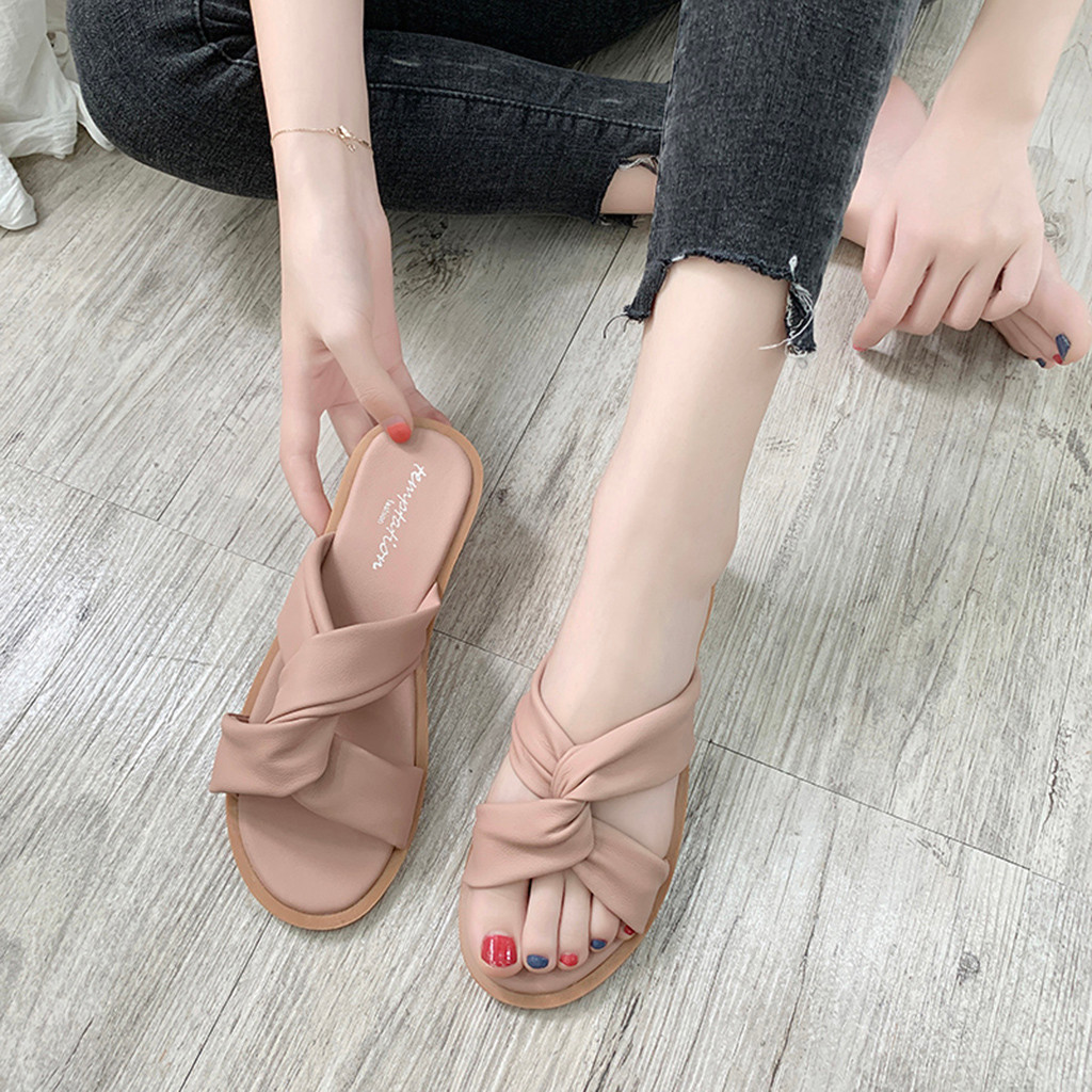 MUQGEW Women's Fashion Casual Summer Solid Color Beach Shoes Flat With Outdoor High Daily Outdoor Footwear 2019 Hot Sale