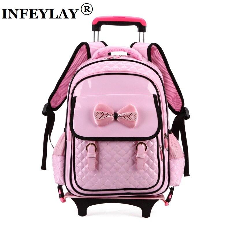 Горячие прокатки дело тележки подняться по лестнице ребенок бантом школьная сумка Дети Студенты светящиеся чемодан Девушка Рюкзак багаж