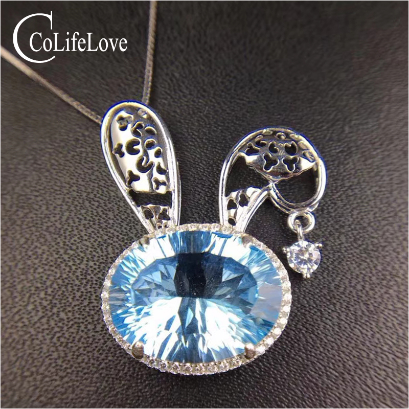 Fashion silver Bunny pendant with topaz 8 ct natural light blue topaz pendant for party 925 sterling silver topaz jewelryFashion silver Bunny pendant with topaz 8 ct natural light blue topaz pendant for party 925 sterling silver topaz jewelry