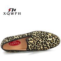 Gold Leopard Print Men Casual Shoes Fashion Party and Wedding Mens Dress Shoes Smoking Slipper Flats for Men