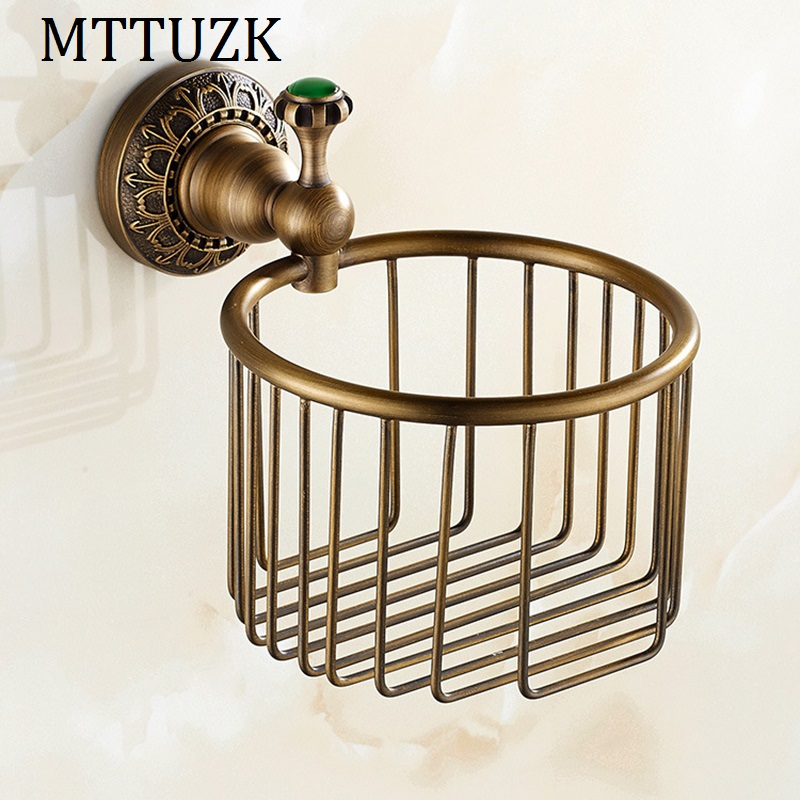 MTTUZK antique bronze carved Bathroom copper roll paper holder,Roll baskets, Paper towel ring ,Tissue basket Toilet accessories copper open toilet paper tissue towel roll paper holder silver