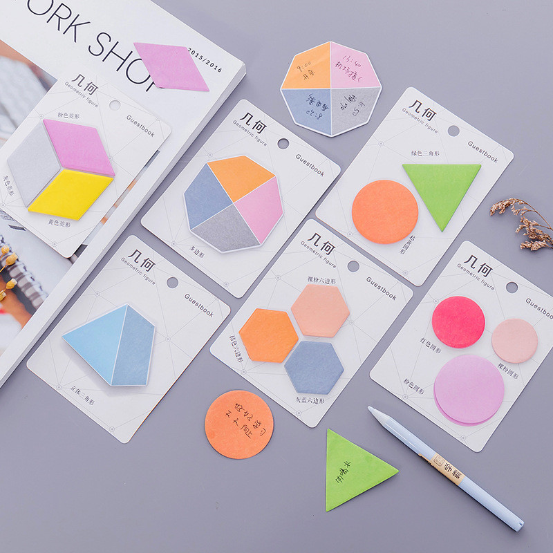 2Pcs Korean Geometry Cute Kawaii Memo Pads Maths Color Stationery Store Post it Office Sticky Note Paper Notepad Planner Sticker