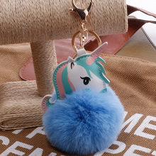 Kawaii Unicorn Plush Animal Keyring Fluffy Fur Pom Pom Girl Toys for Children Pendant Girls Bag Hang Key Pendant Licorne Gifts(China)