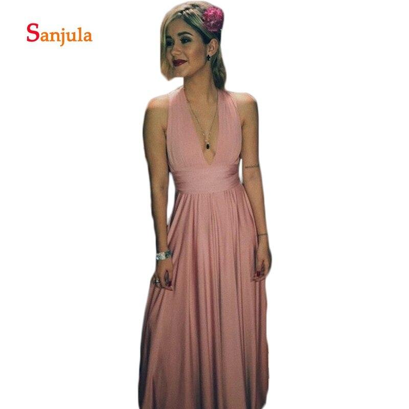 Pink Spandex A-Line   Bridesmaid     Dresses   2019 Fashion V Neck Tank Wedding Guest   Dresses   Pleats robe fille d'honneur D323