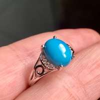 KJJEAXCMY fine jewelry 925 silver inlaid with natural turquoise ring jewelry.
