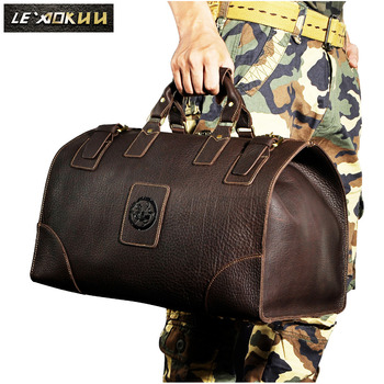 Quality Crazy Horse Leather Male Larger Capacity Retro Design Handbag Duffle Luggage Bag Fashion Travel Suitcase Tote Bag 8151-w