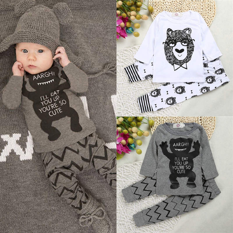 (4) Newborn Boys Girls Baby Clothes Sets Jumpers Toddler Fall Skull Print Baby punk rock Harlan Pants Motorcycle Clothing