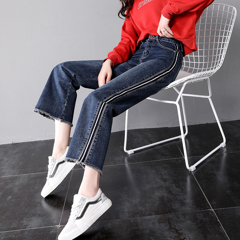 Boyfriend   jeans   women ankle length   jeans   side stripe pants female summer denim pants 9P12