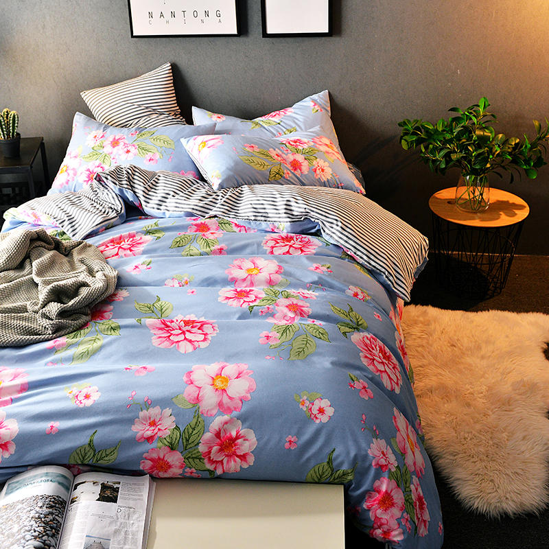 Bedding Set 4PCS Floral Plant AB Side Style King Queen Twin size bed set/bedclothes/ duvet covers pillowcase bed sheet bed linen