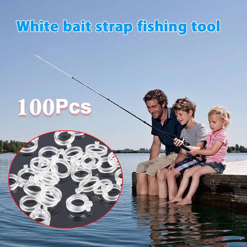 100 قطع الأبيض الطعم حزام الصيد أداة في الهواء الطلق الصيد الرياضية واضح سوبر تمتد اللاتكس 3 حجم اللاتكس الصيد اكسسوارات