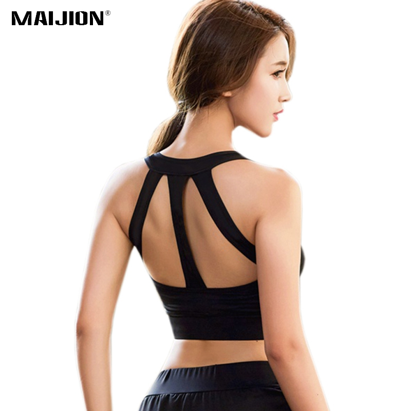 MAIJION Sexy Women Sports Bra Shockproof Running Yoga Bras Cropped Tops, Seamless Wirefree Gym Fitness Vest Workout Tank Top kiind of new blue women s xl geometric printed sheer cropped blouse $49 016
