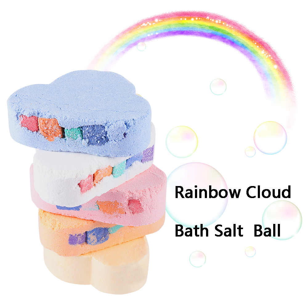 100G NATURAL Skin Care Cloud Rainbow Bath เกลืออาบน้ำระเบิด Exfoliating Moisturizing Bubble Bath Bombs Ball Jasmine // ลาเวนเดอร์