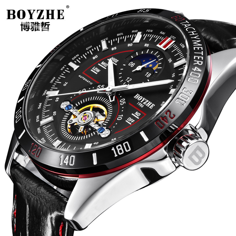 BOYZHE Men s Automatic Mechanical Fashion Top Brand Sports Watches Luxury Tourbillon Moon Phase Leather Watch