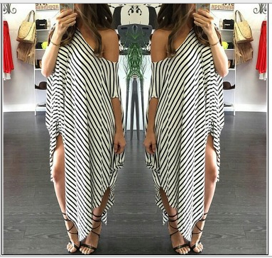 Europe 2016 summer new European striped dress sexy strapless dress irregular