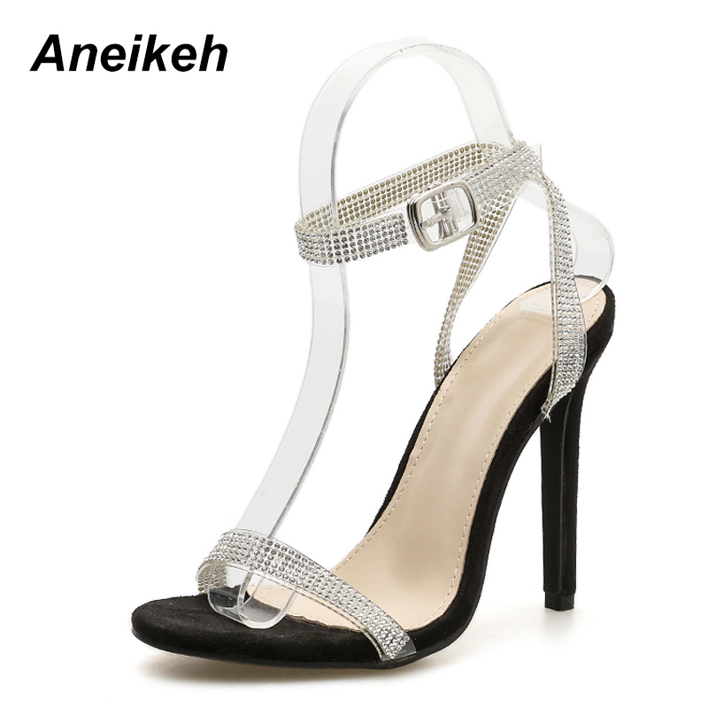 8a4284b313398 Aneikeh 2018 Shoes Women Gladiator Sandals Sky High Heels Straps Bling  Bling Crystal Sandals Glittering Rhinestone Wedding Shoe-in High Heels from  Shoes on ...