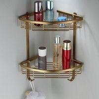 골동품 공간 알루미늄 욕실 코너 선반 펜던트 복고풍 닦았 수건 랙 더블/단일 화장품 선반 DF42