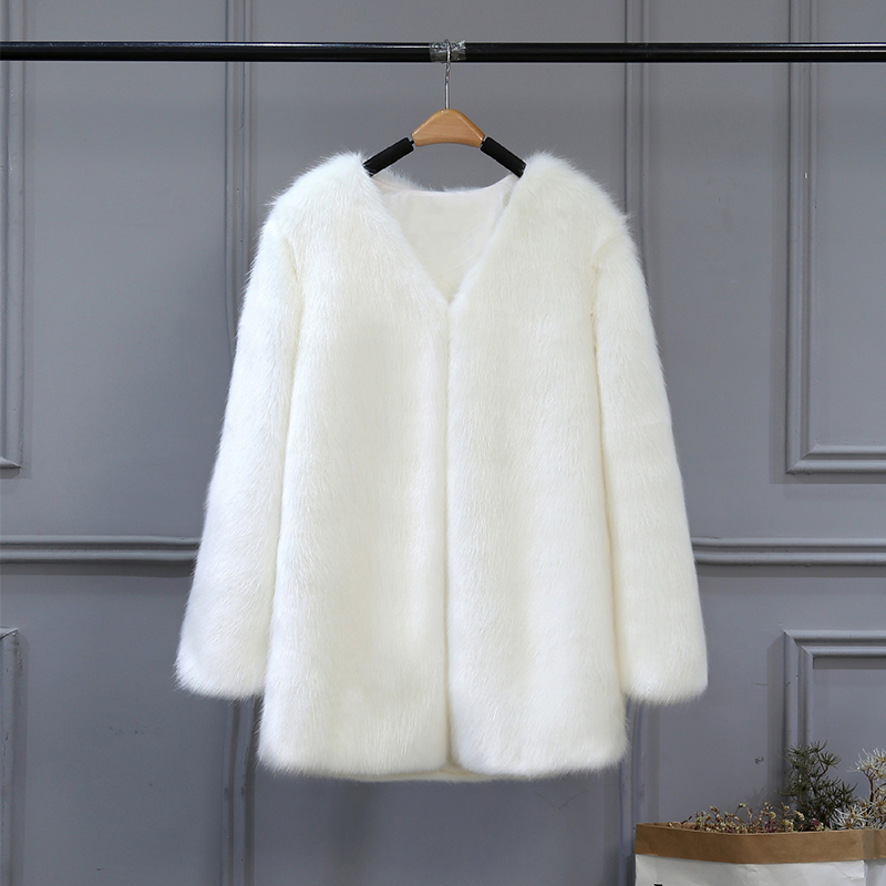 8ff085ed0cad0 Winter Women Plus Size 3XL Solid Fluffy Hair Faux Fur Coat Black White  Green Pink Wine Red Street lady Fur Outerwear SWQ0365 45-in Faux Fur from  Women s ...