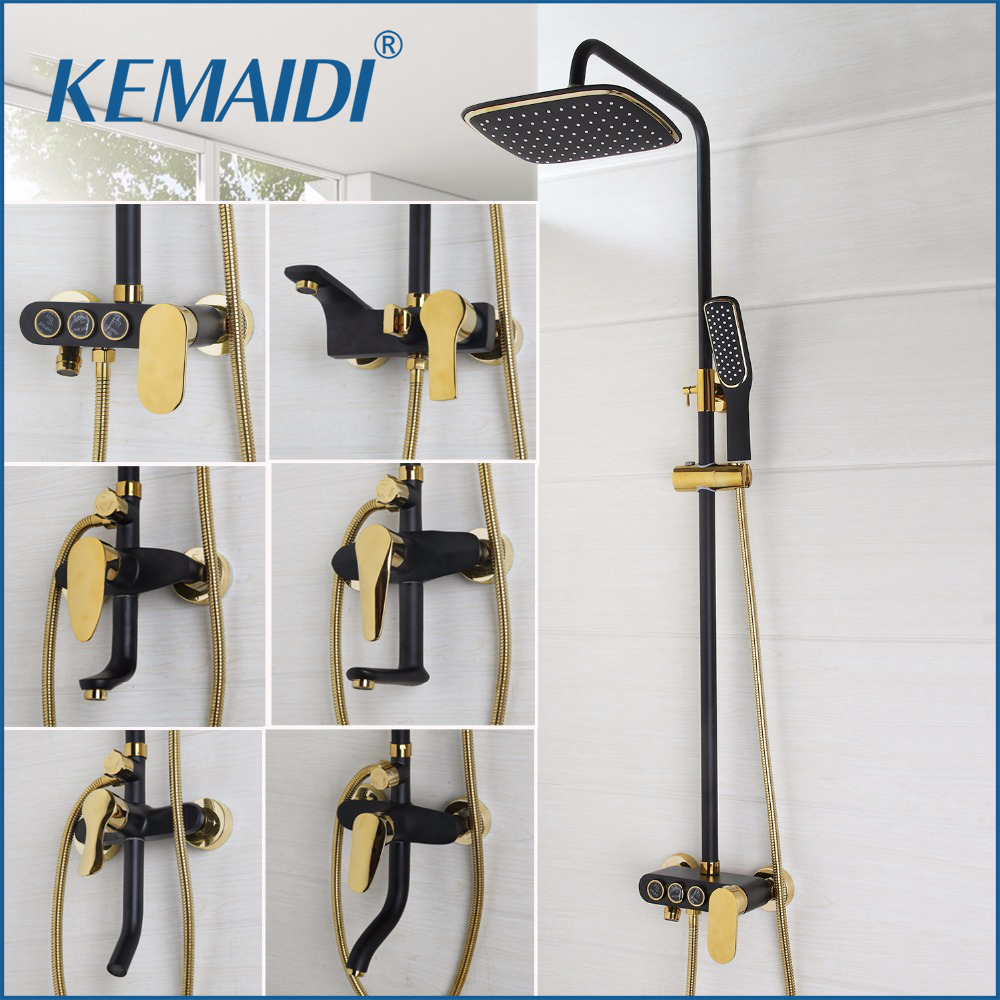 KEMAIDI New Arrival Bathroom Black Shower Set Wall Mounted Rainfall Shower Mixer Tap Faucet 3-functions Mixer Valve Good Quality free shipping polished chrome finish new wall mounted waterfall bathroom bathtub handheld shower tap mixer faucet yt 5333
