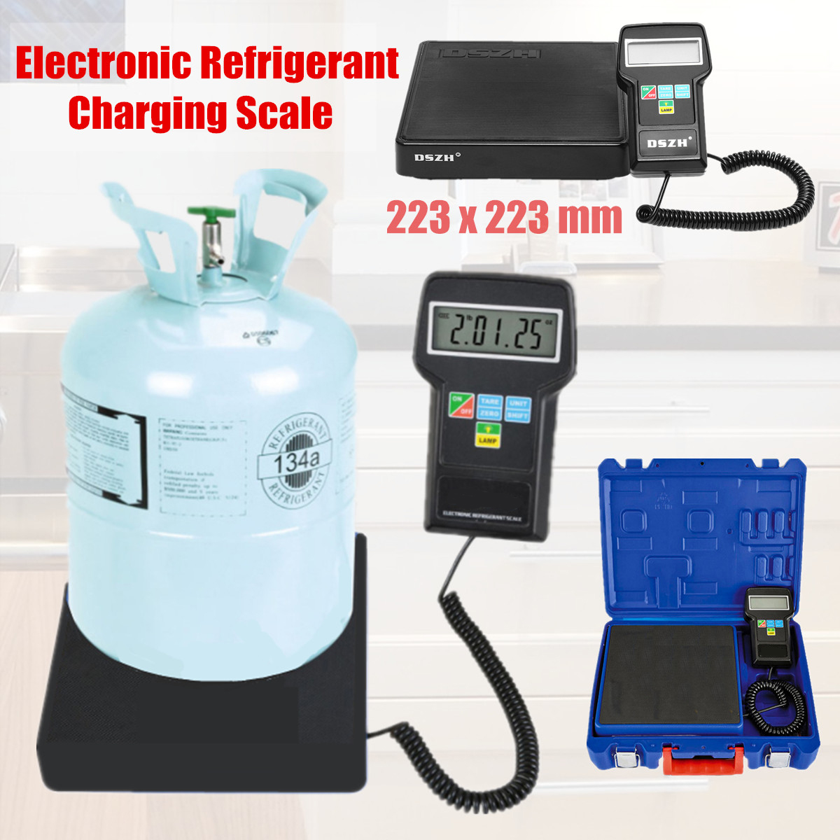 7 Digits Display Electronic Refrigerant Charging Scale Precision Car Refrigerant Weighing Weight HVAC With English Instruction