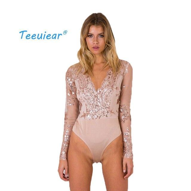 35e9686e6079 € 14.15 50% de DESCUENTO|Bordado 2019 nuevo cuello en V lentejuelas Casual  Blusas camisones Mujer Body camisa blusa Mujer moda Mujer manga larga ...