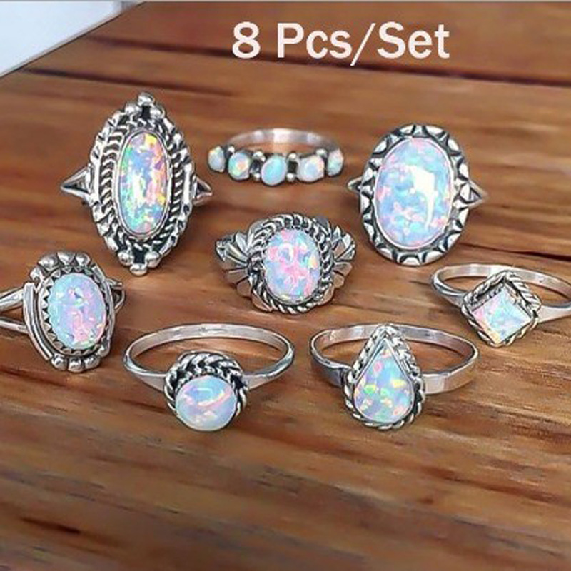 Vintage Ring Sets for Women Bohemian Silver Color Opal Stone Statement Rings Finger Jewelry