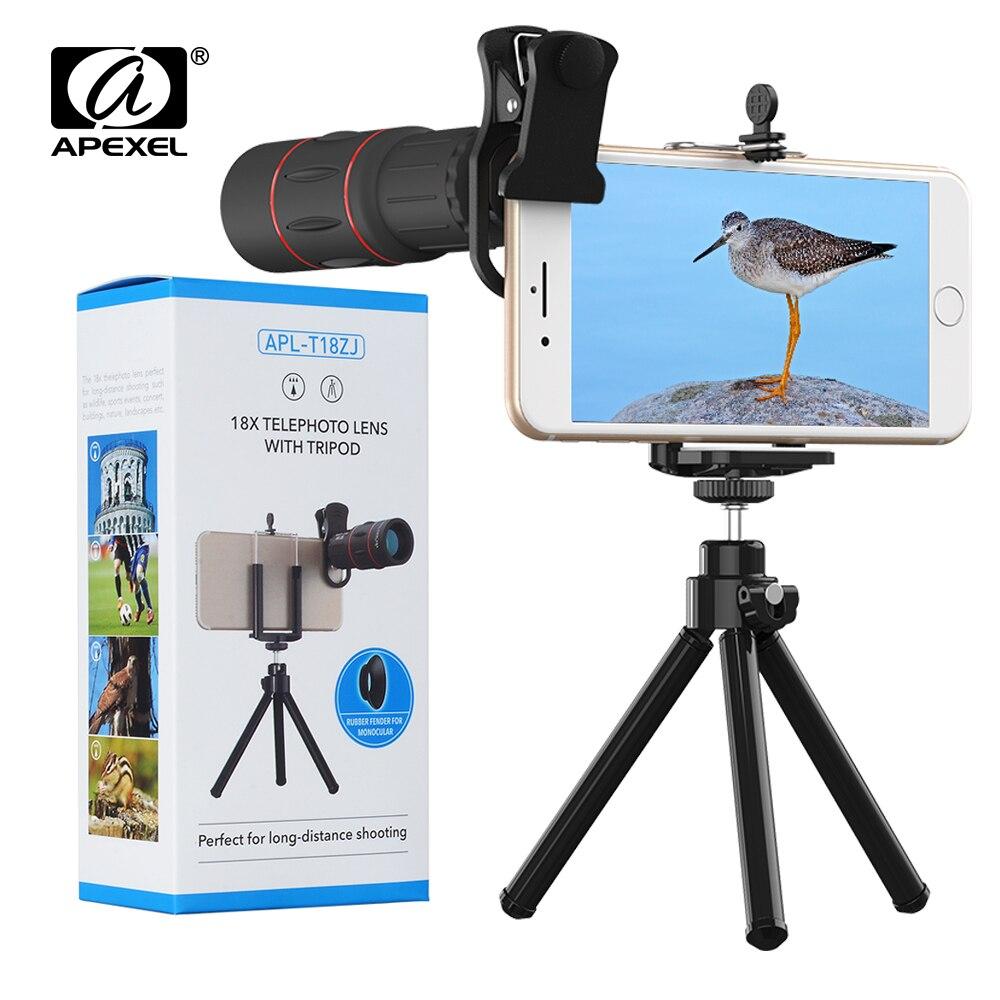 APEXEL 8 Pcs lot Telefon Lens 18X Telescope with Tripod Zoom Camera Lenses for iPhone Xs