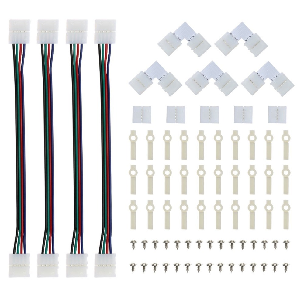 1 pcs 2Pin 4pin 5pin 8mm 10mm 12mm RGBW RGB Single Color solderless PCB board wire connection for 3528 5050 LED Strip light цены