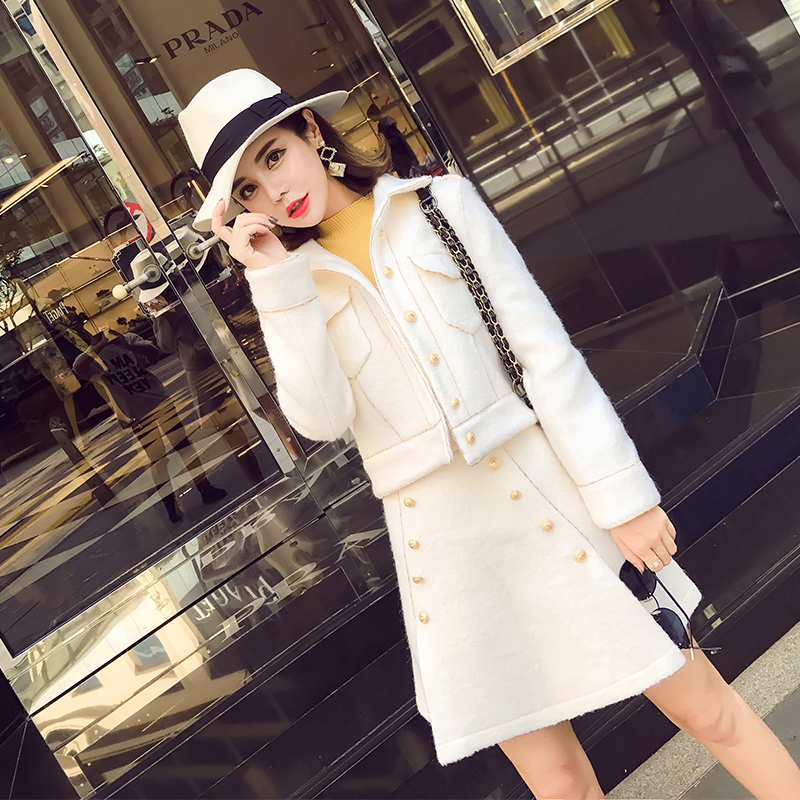 High quality autumn and winter small fragrant wool short jacket suit female