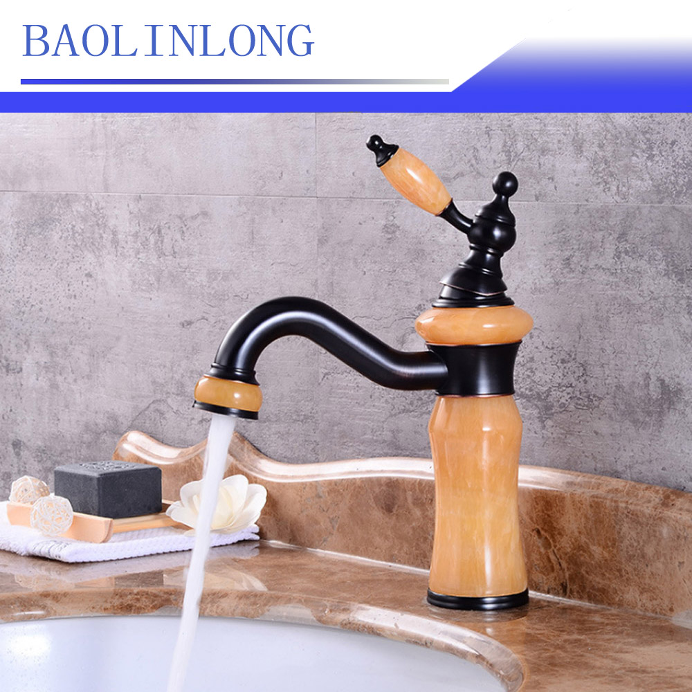 BAOLINLONG Antique Styling Brass bowlder Deck Mount Basin Bathroom Faucet Vanity Vessel Sinks Mixer Basin Faucets Tap