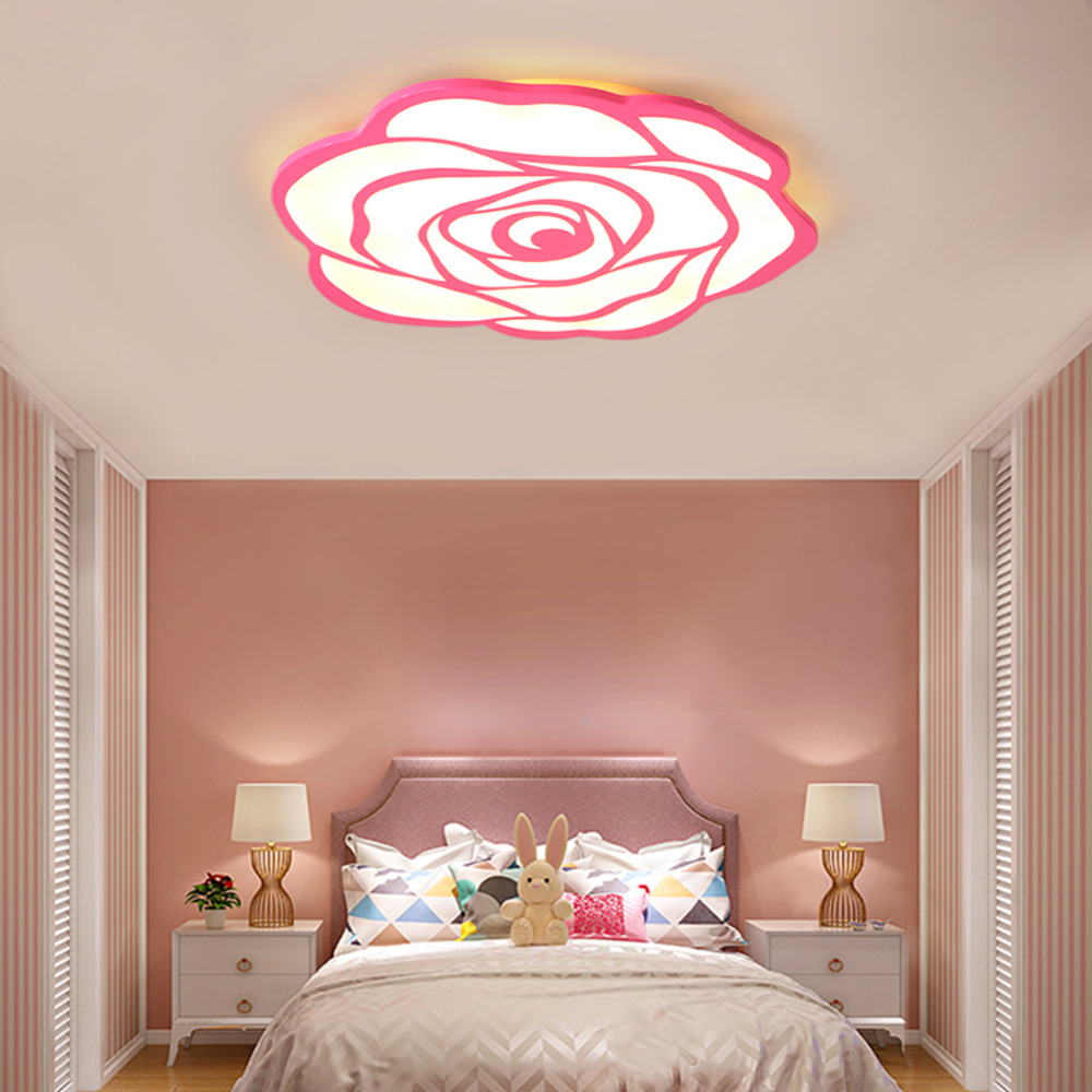 Modern LED Ceiling Light Lamp Panel Rose Flower Lighting Fixture Bedroom Hall Surface Mount Flush Remote Control Foyer Kitchen